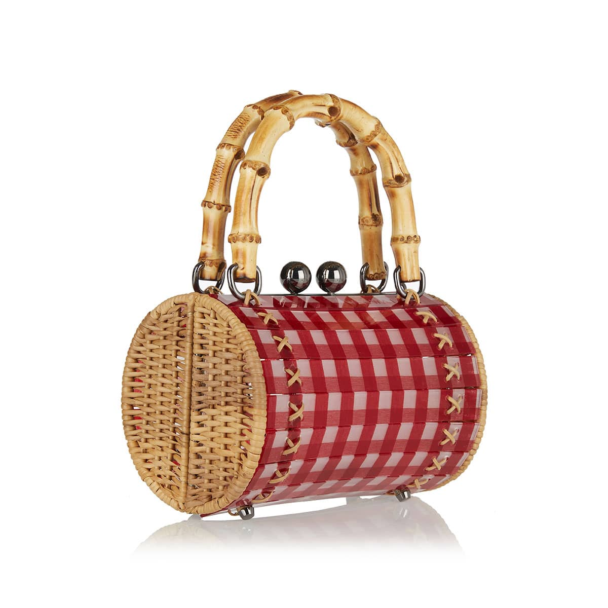 Alix gingham bamboo-handle bag