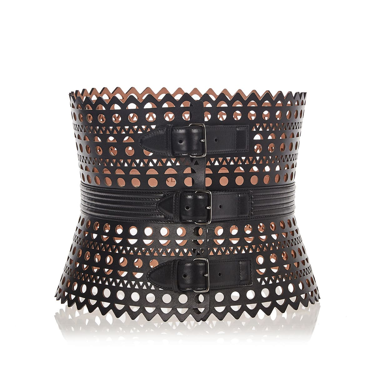 Laser-cut leather corset belt