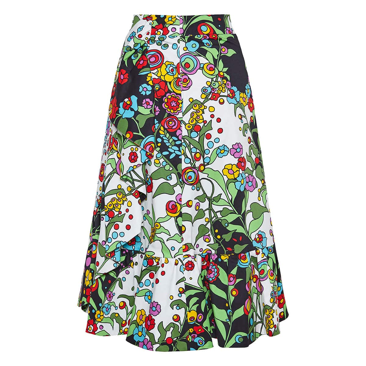 Jazzy floral ruffled midi skirt