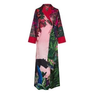 Alectrona printed long wrap dress