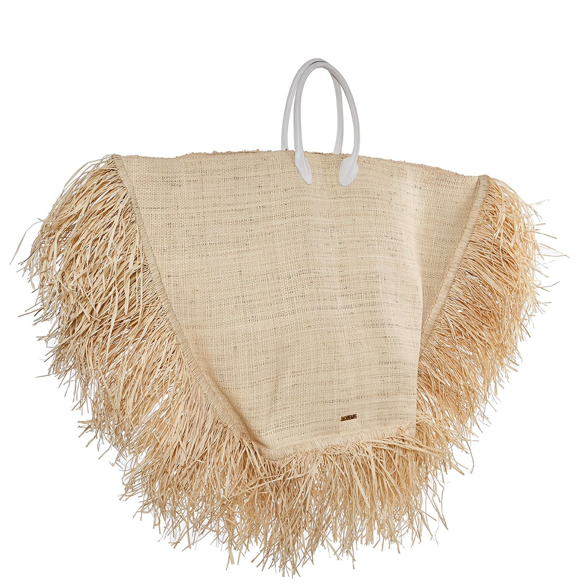 Le grand Baci fringed raffia bag