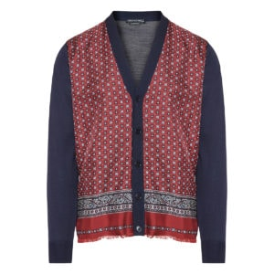 Cardigan with printed silk front