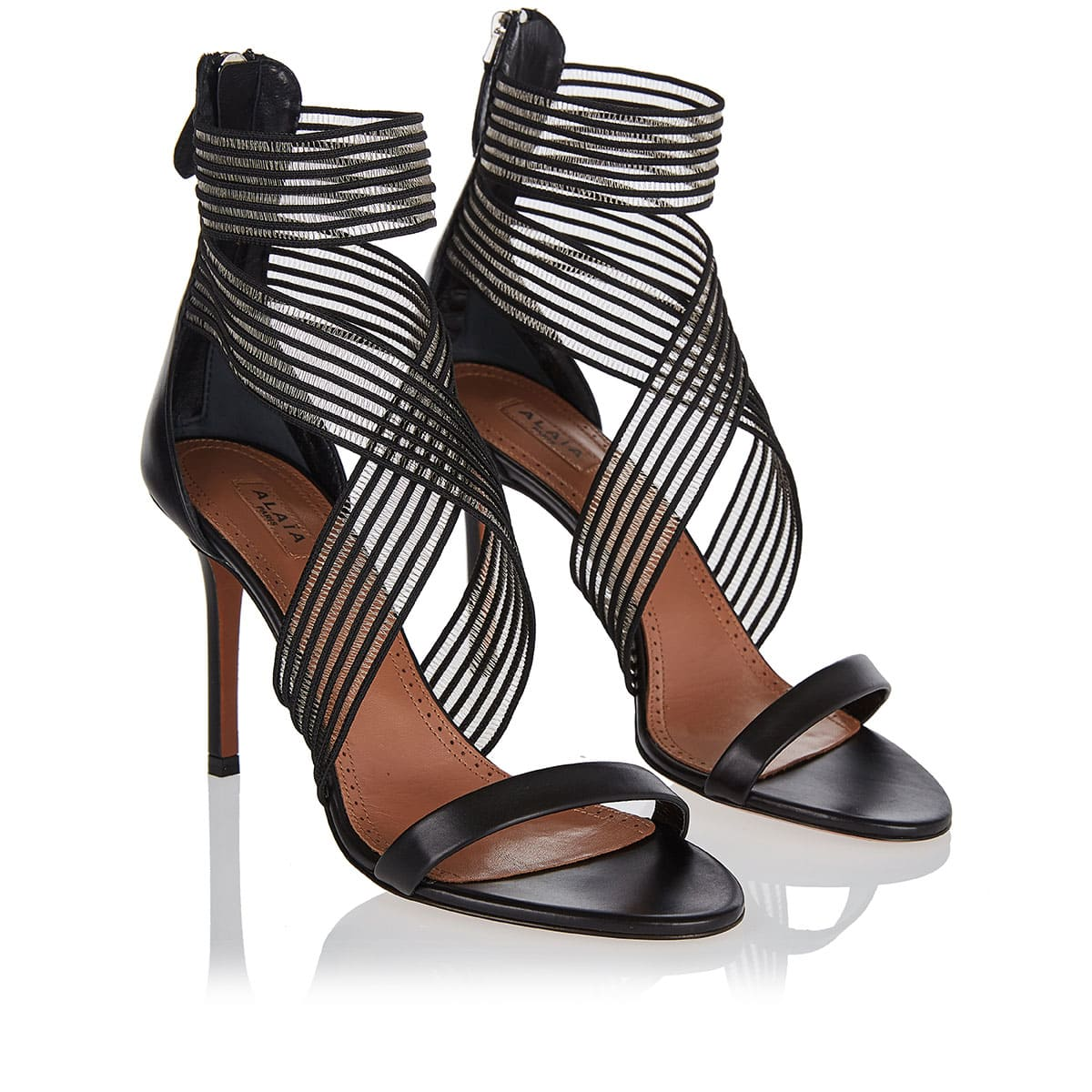 Leather and mesh sandals