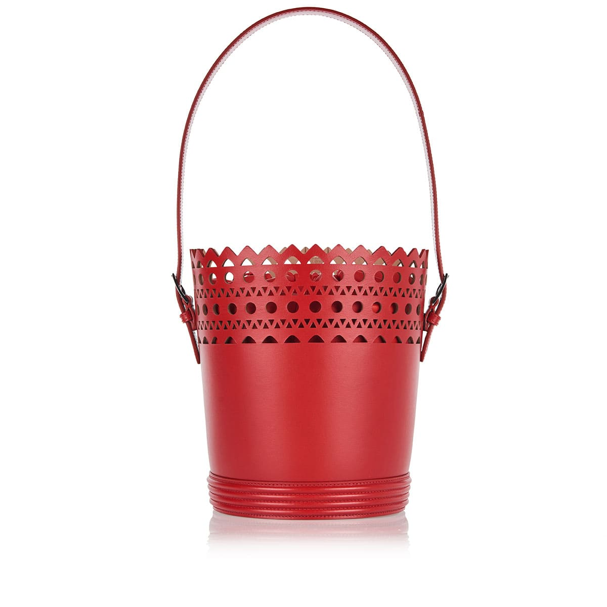 Edition 1992 laser-cut leather bucket bag