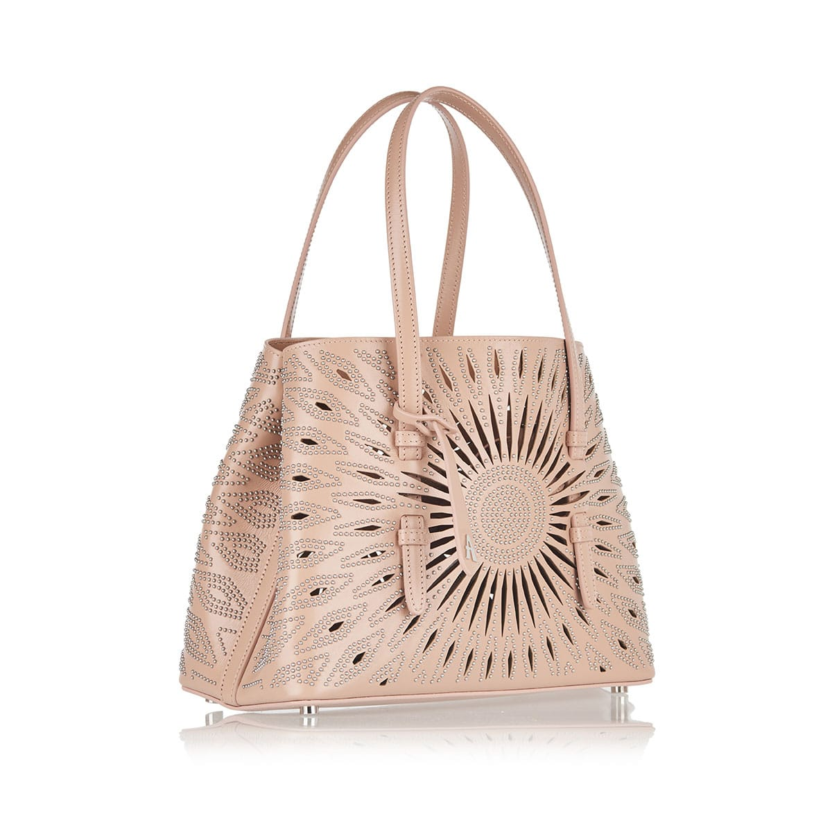 Mini studded laser-cut leather tote