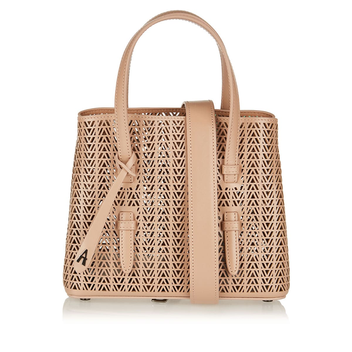 Laser-cut mini leather tote