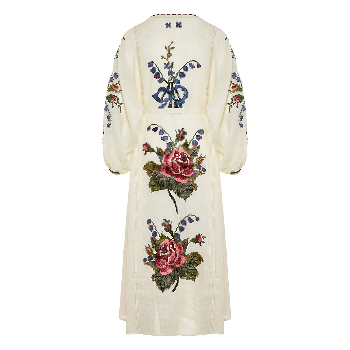 Dorian floral-embroidered linen midi dress