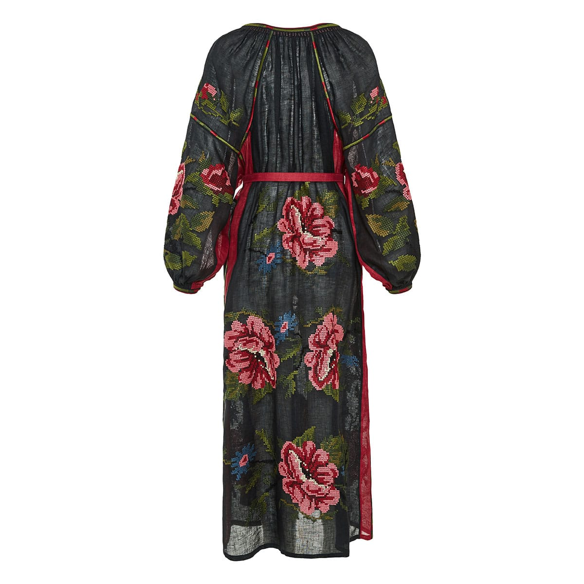 Gypsy Queen rose-embroidered linen dress