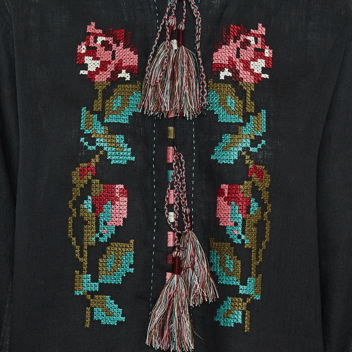 Gypsy Queen embroidered linen tunic dress
