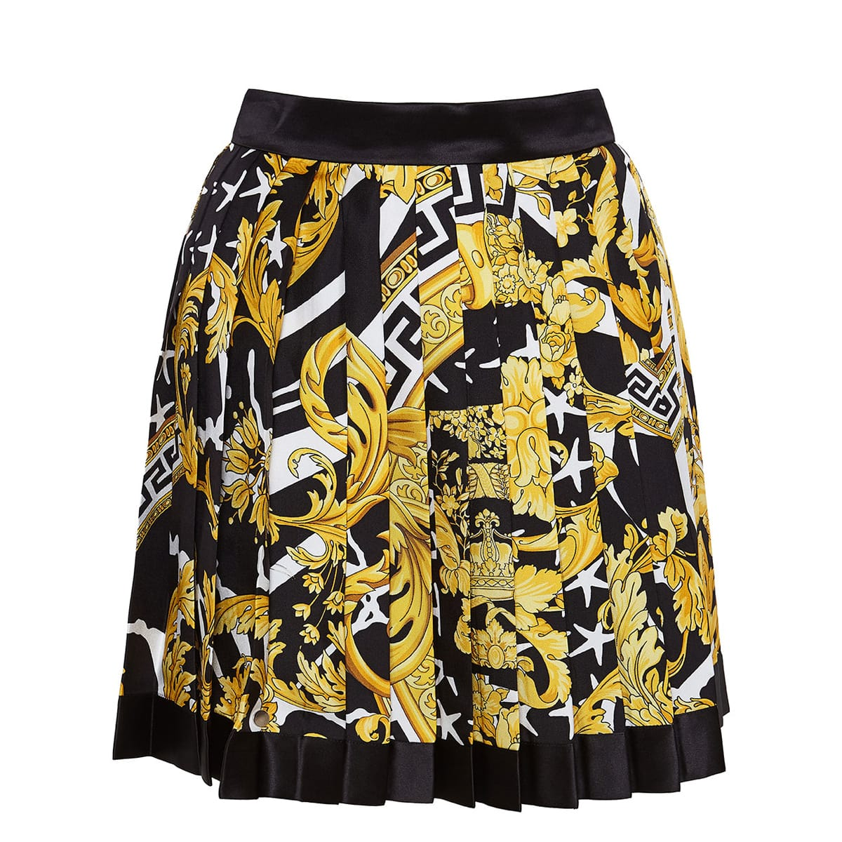 Baroque print pleated mini skirt