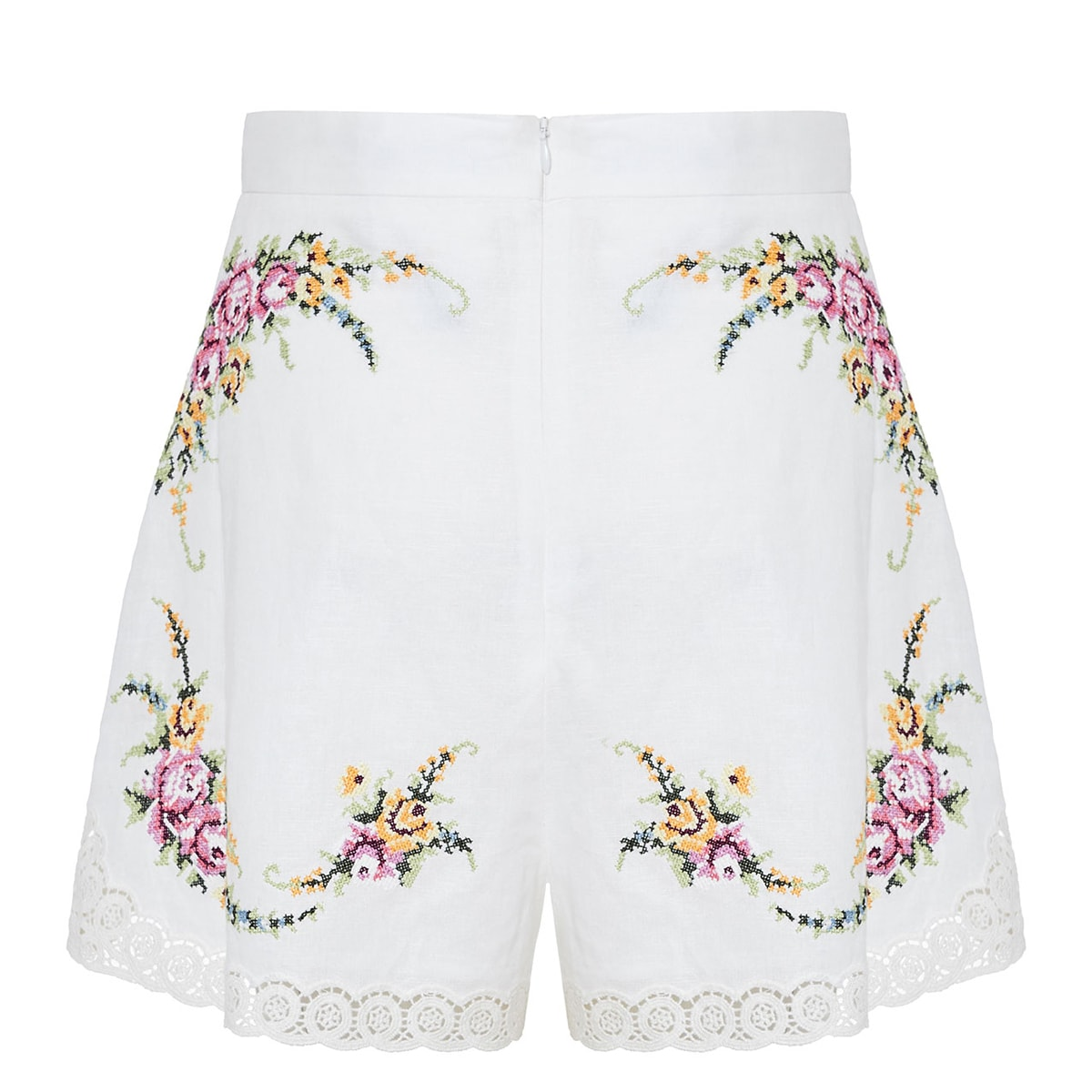 Allia embroidered cotton-linen shorts