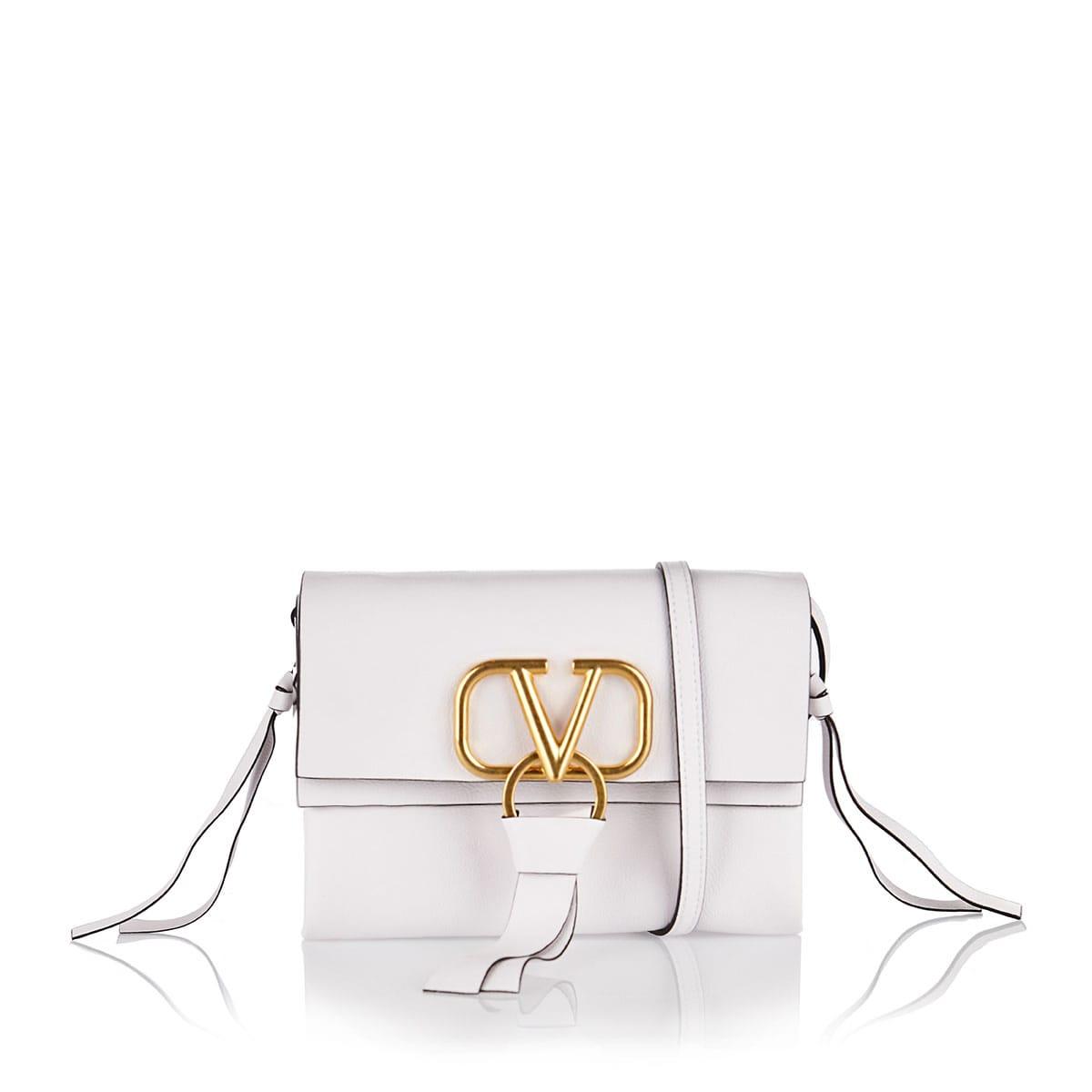 V-ring small leather crossbody bag