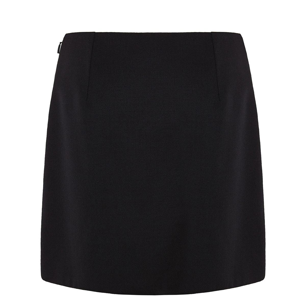 Pin-embellished wool mini skirt
