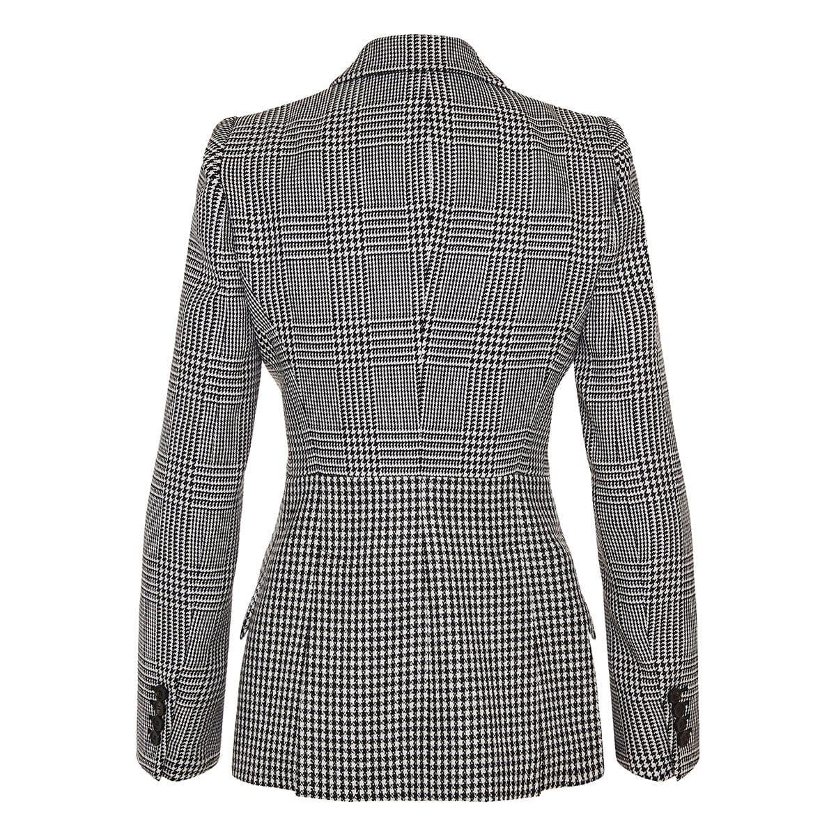 Patchwork-printed structured blazer