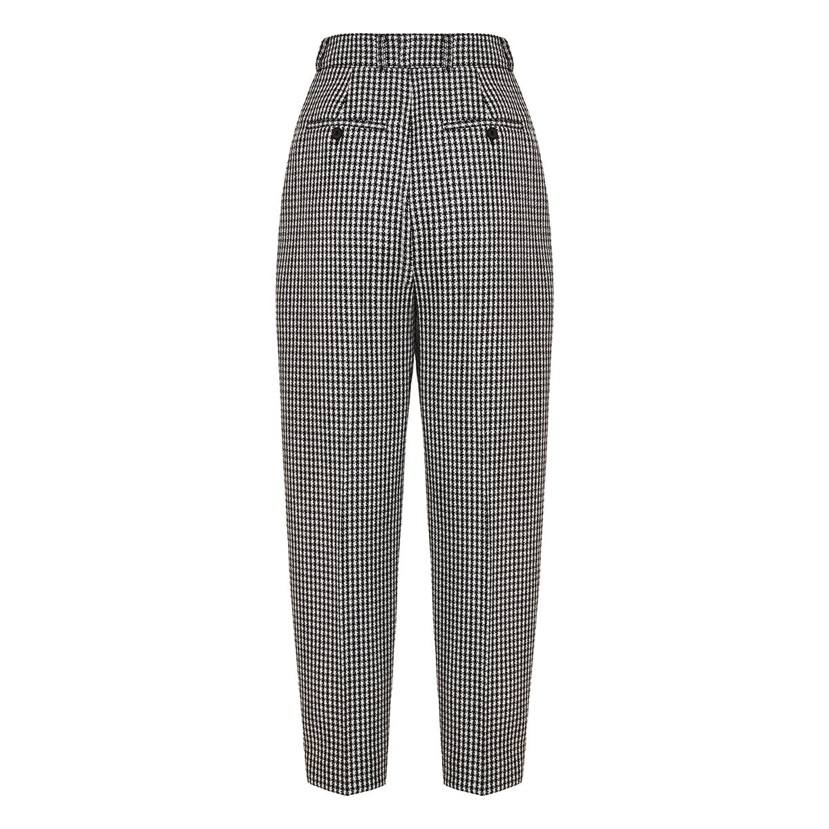 Houndstooth high-waist tailored trousers