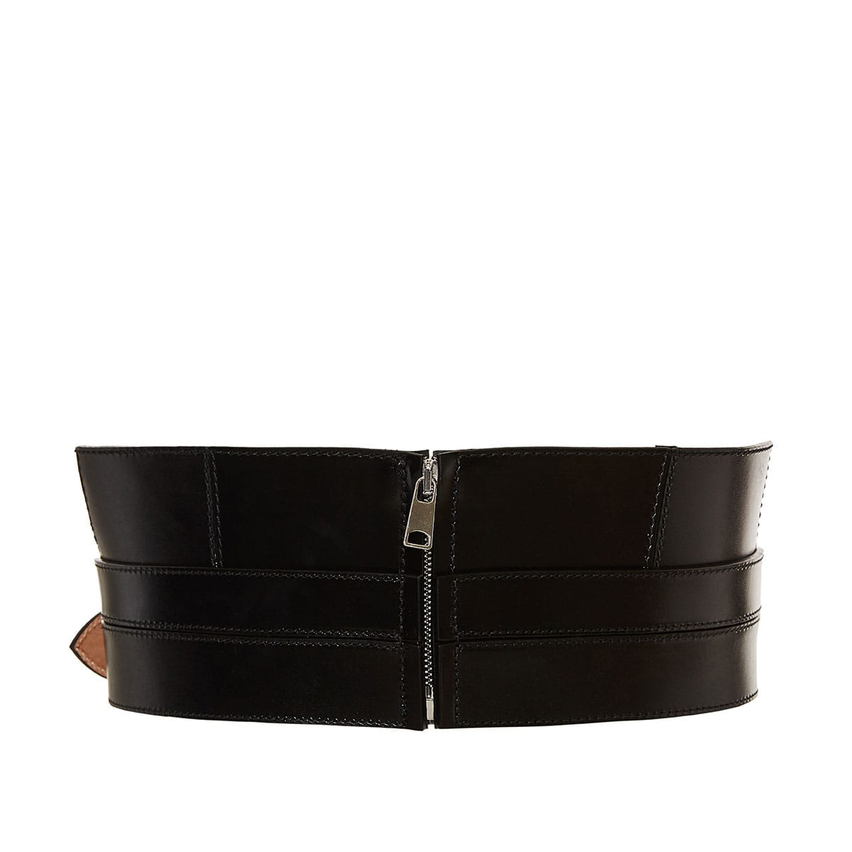 Structured wide leather belt