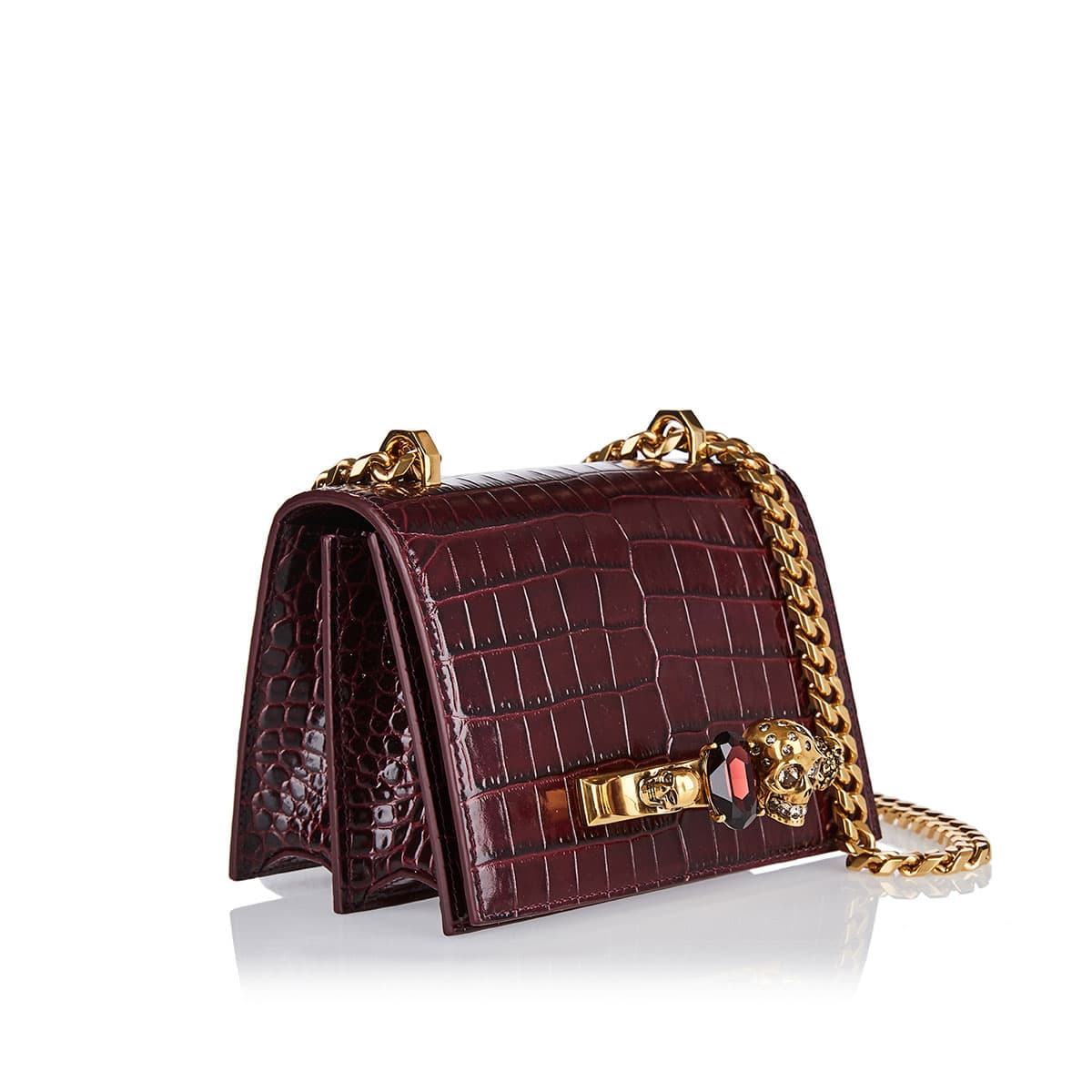 Four-ring croc-effect small chain bag