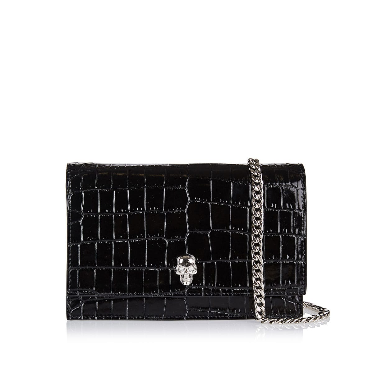 Skull-embellished croc-effect chain bag