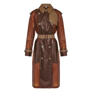 Leather-trimmed plastic trench coat
