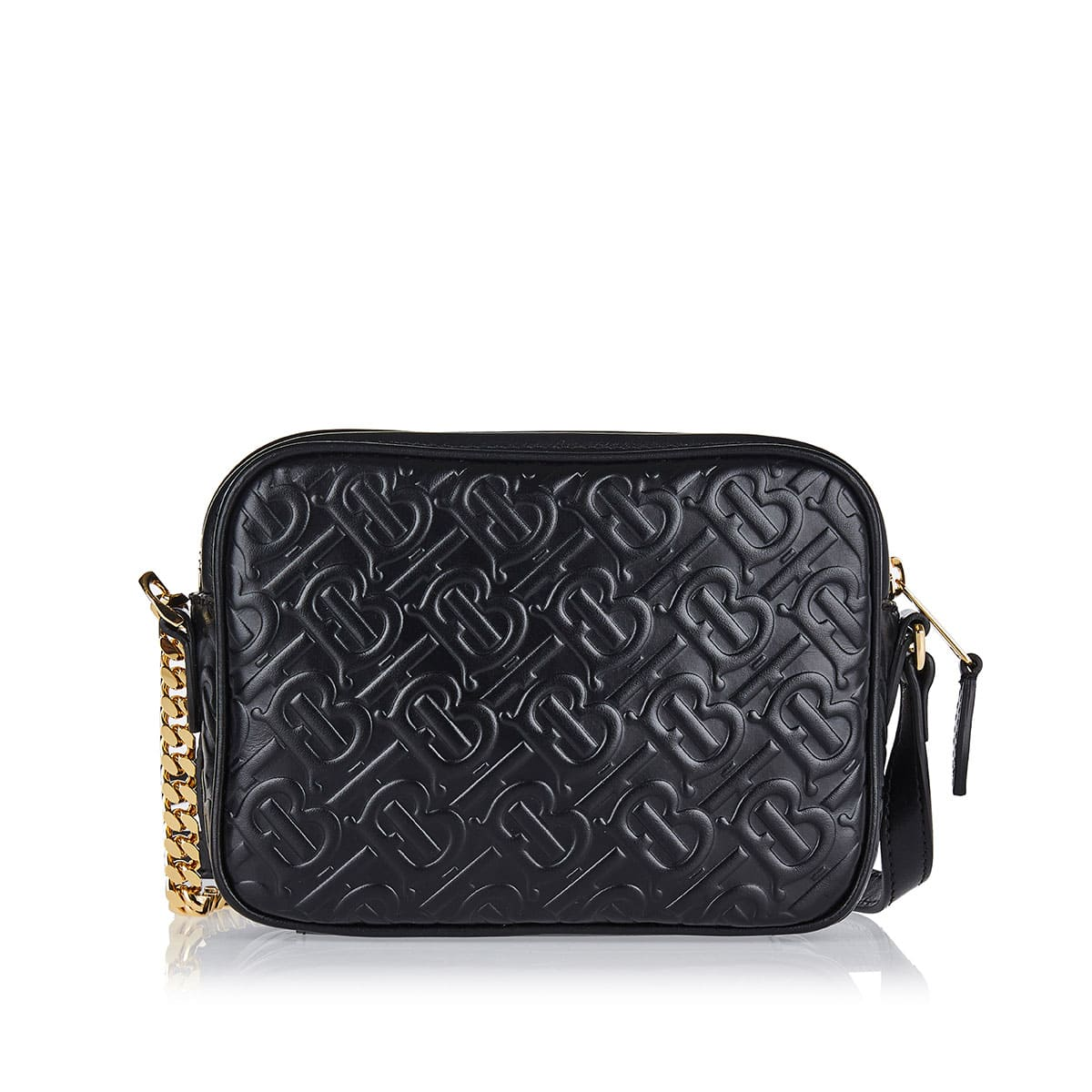 TB logo quilted leather camera bag