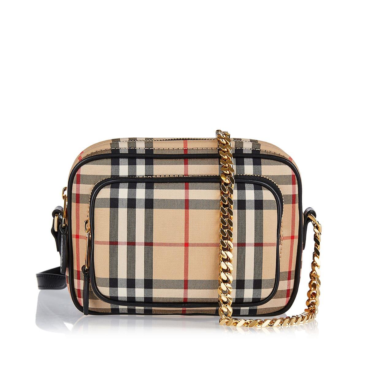 Vintage check cotton camera bag