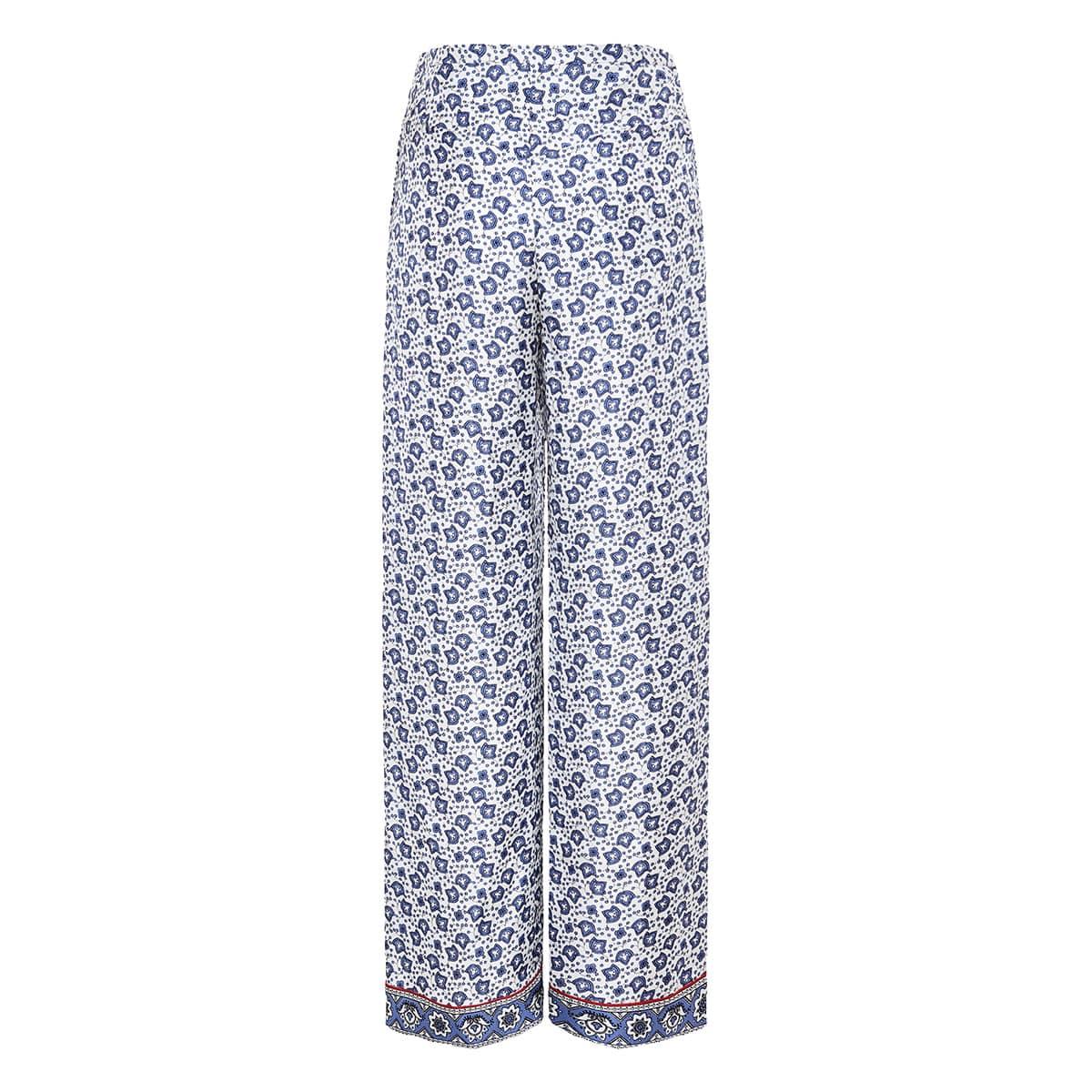Bandana print wrap-effect palazzo trousers