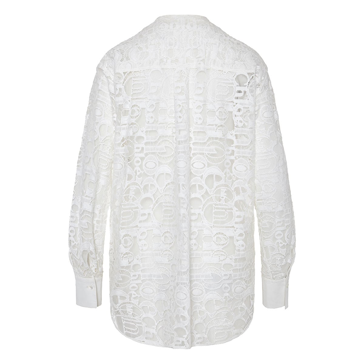 Logo-embroidered lace blouse