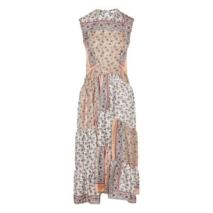 Bandana print long tiered dress