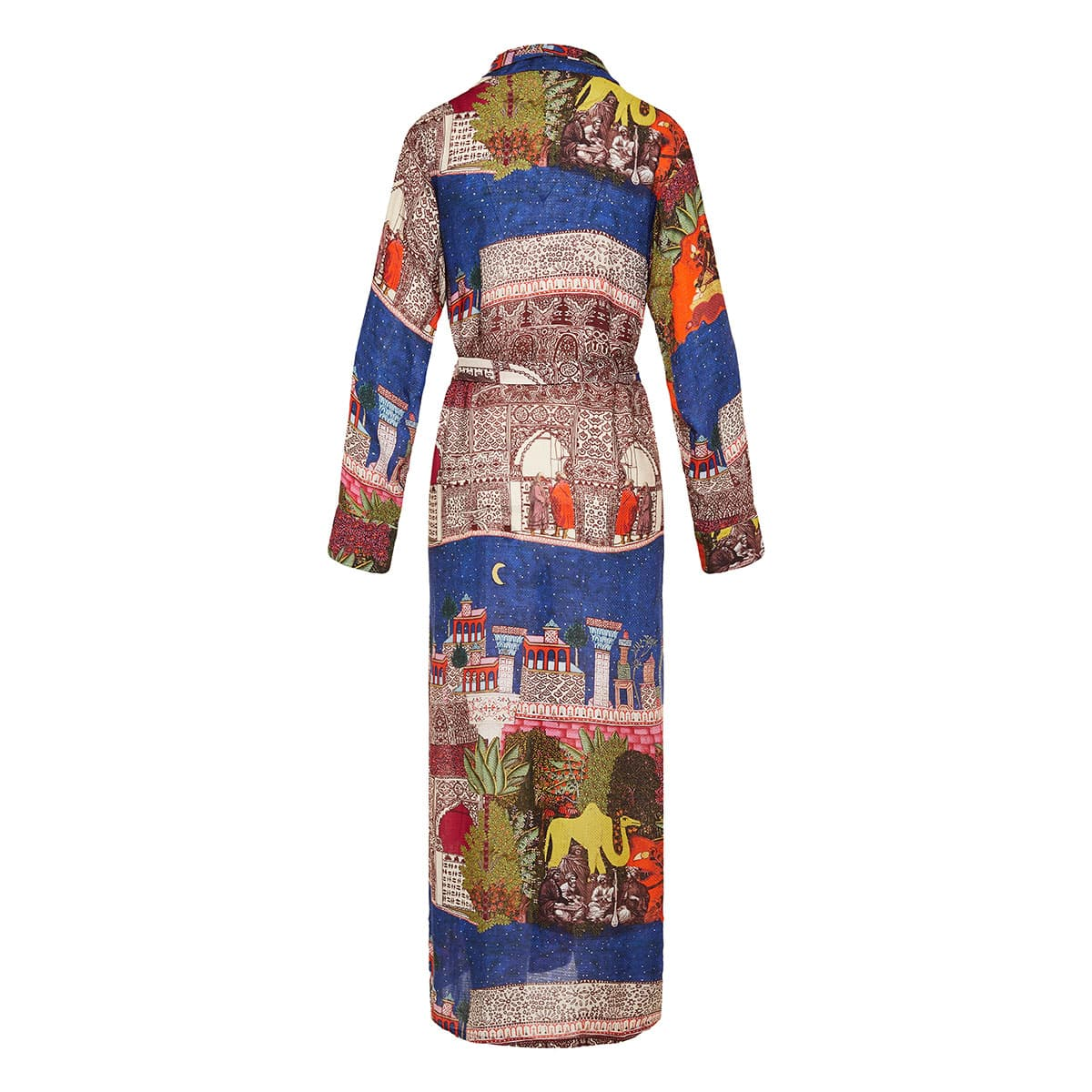 Camel print belted robe