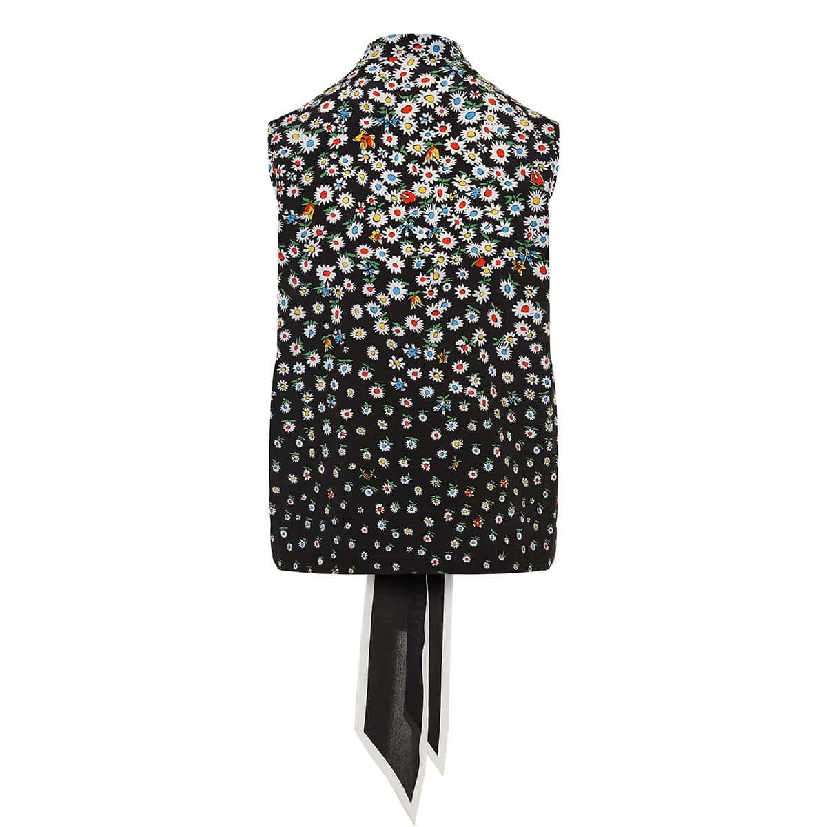 Bow-tie floral silk top