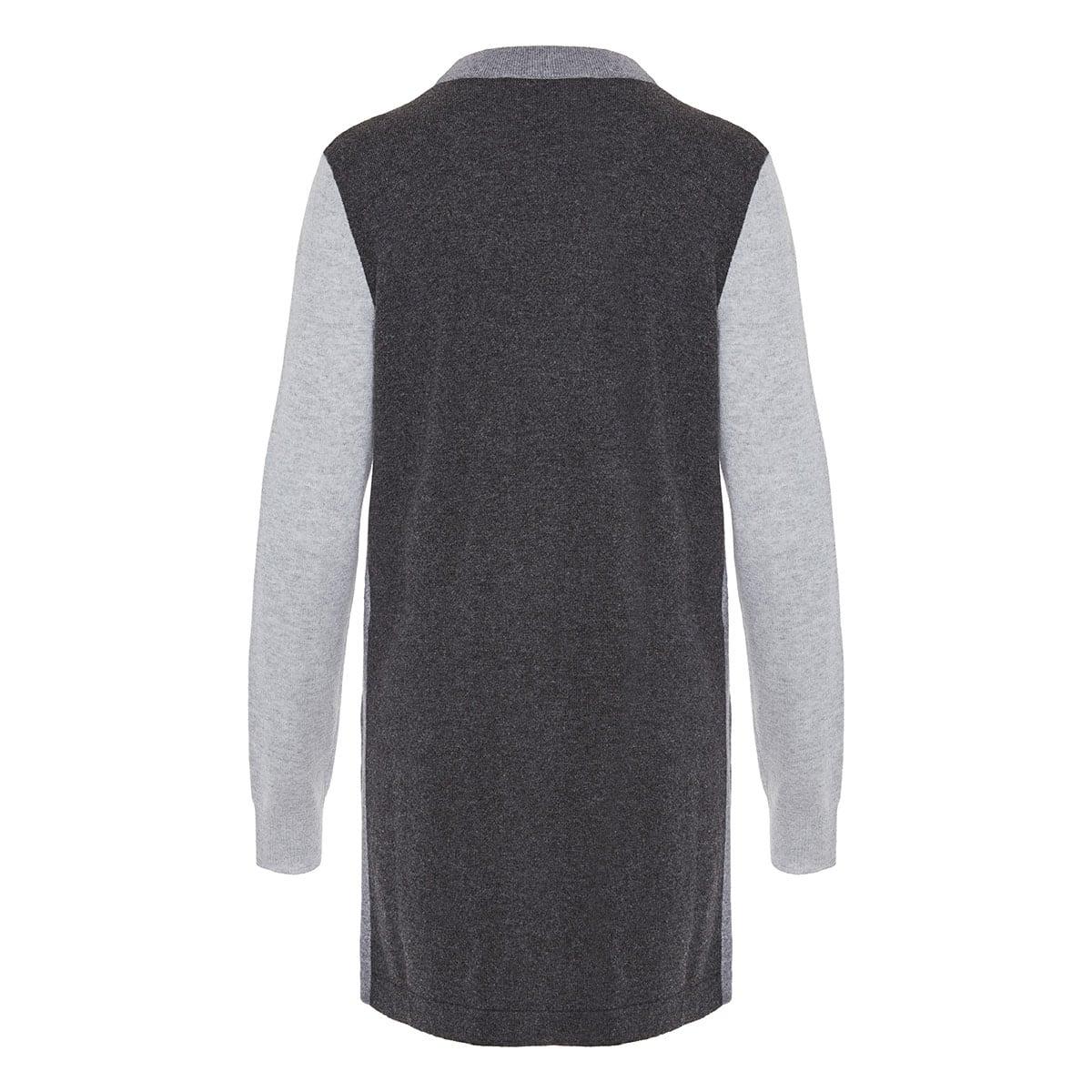 Three-tone cashmere zipped cardigan