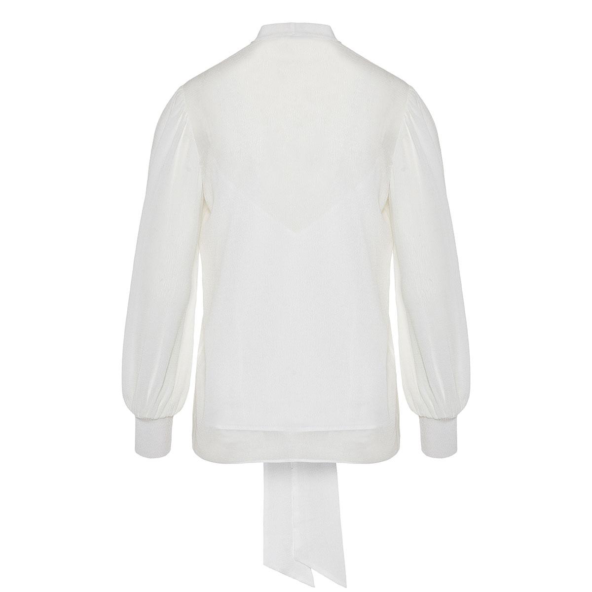 Bow-tie silk blouse