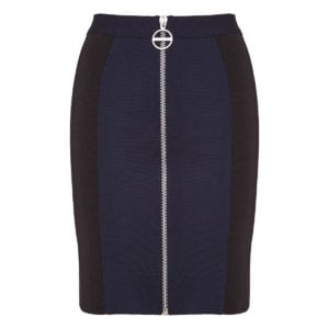 Two-tone fitted zipper mini skirt
