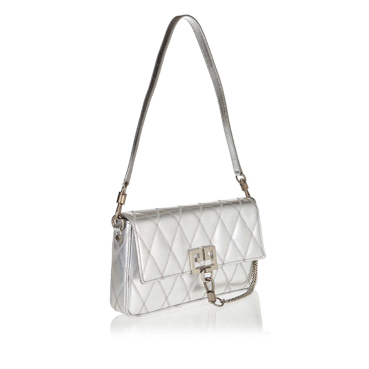 GV Charm metallic quilted shoulder bag