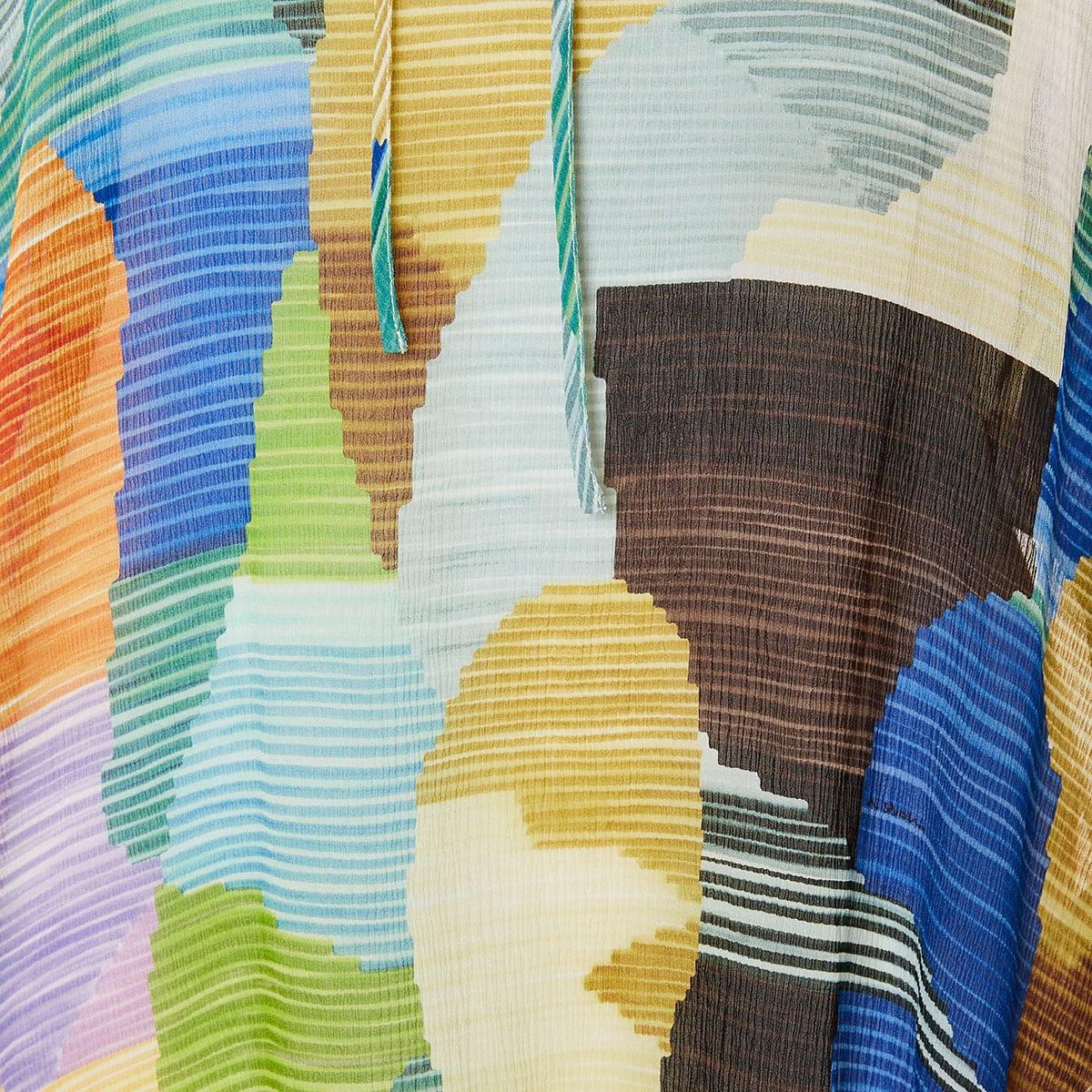 Abstract print sheer blouse