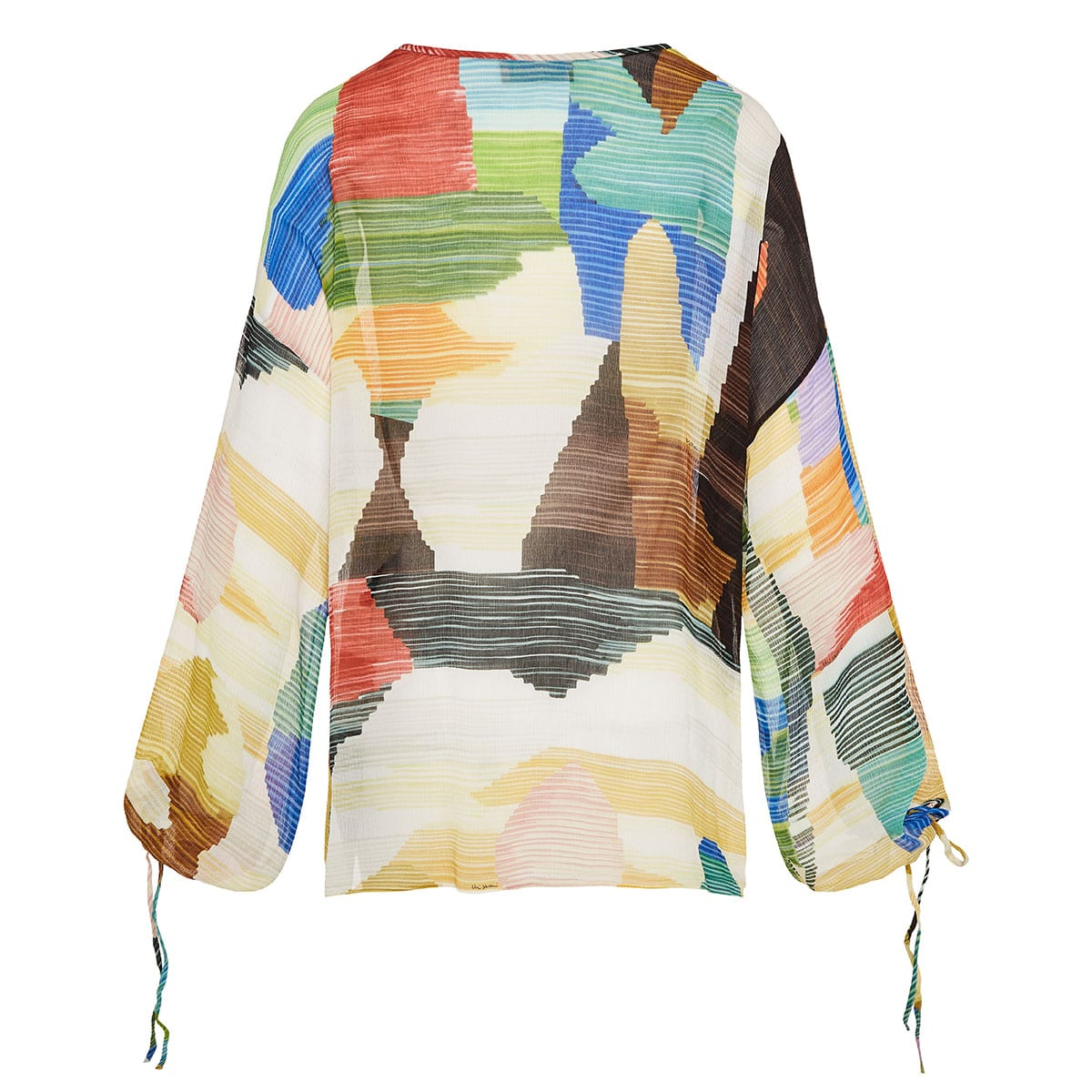 Abstract print sheer blouse