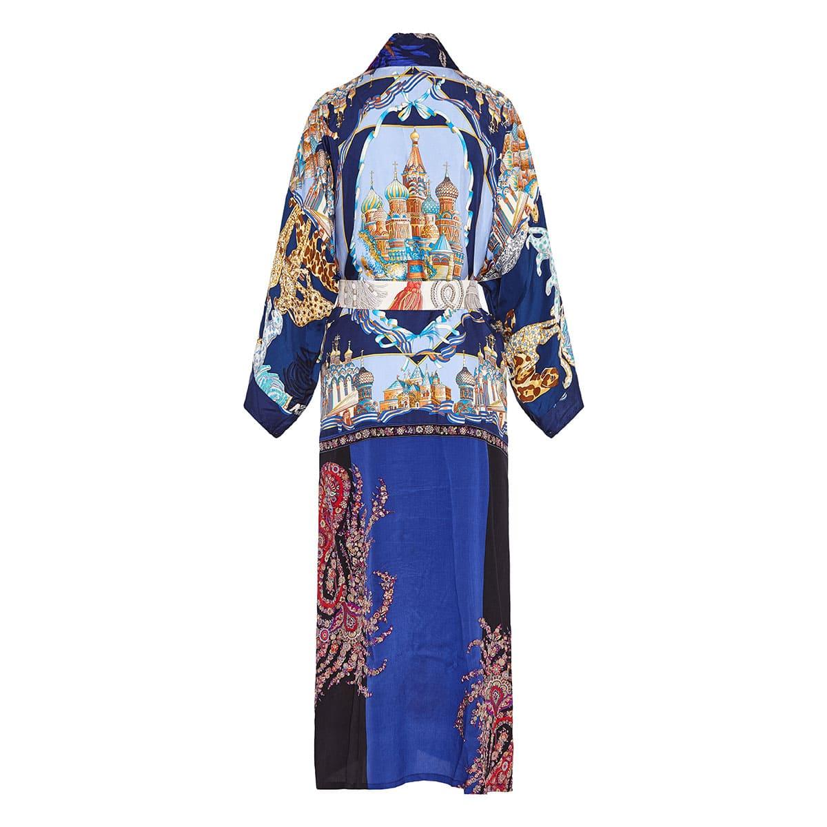Vintage-scarves patchwork silk kimono