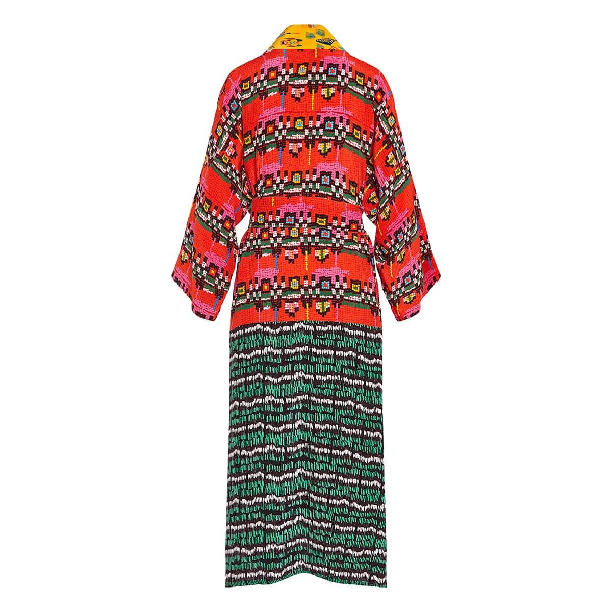 Patchwork vintage silk dress