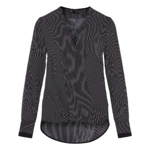 Wrap-effect striped blouse
