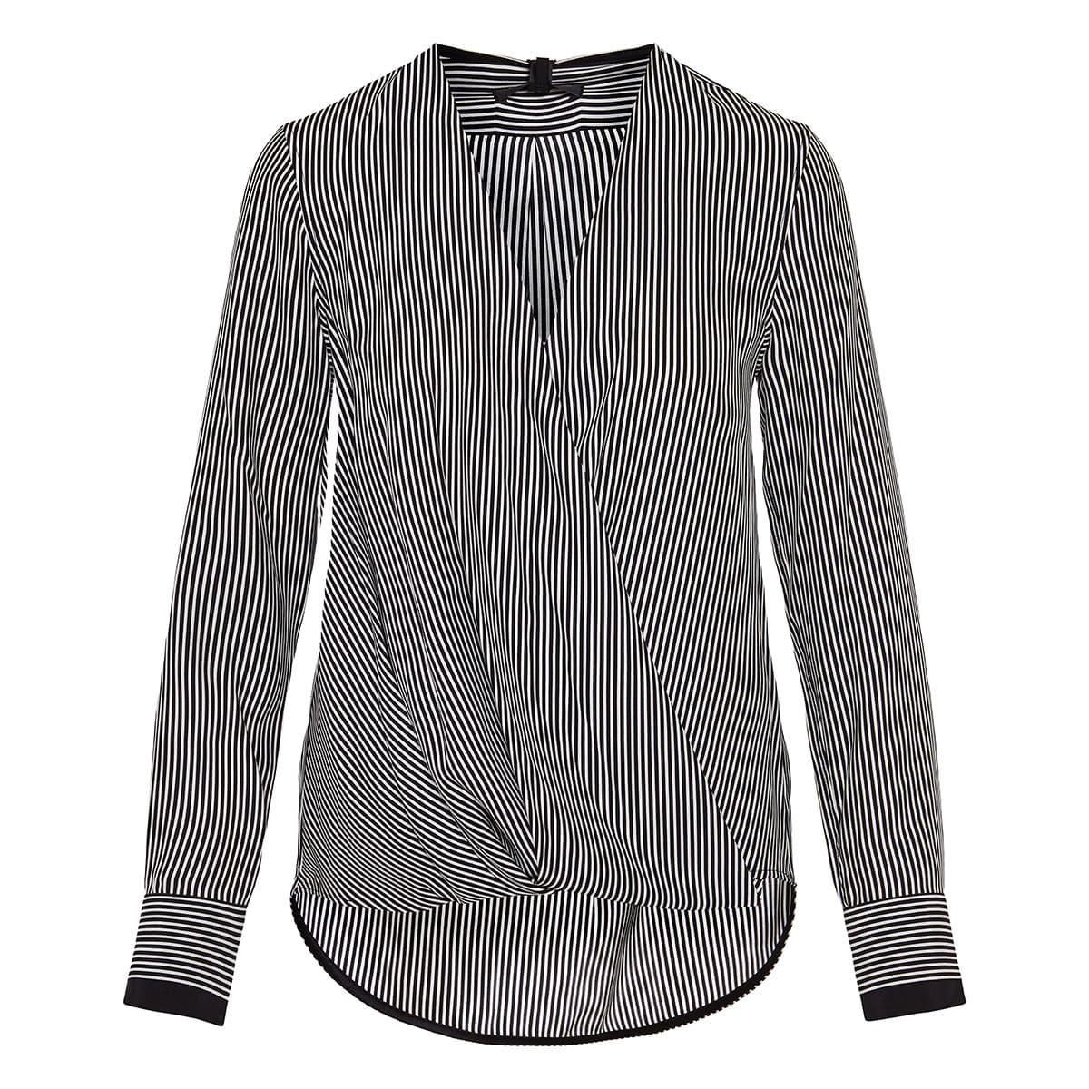 Wrap-effect striped blouse