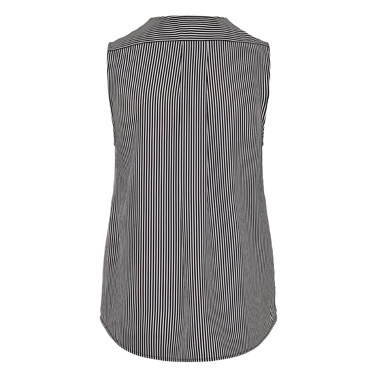 Wrap-effect striped sleeveless top