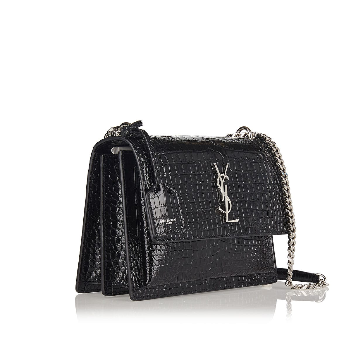 Medium Sunset bag in croc-effect leather
