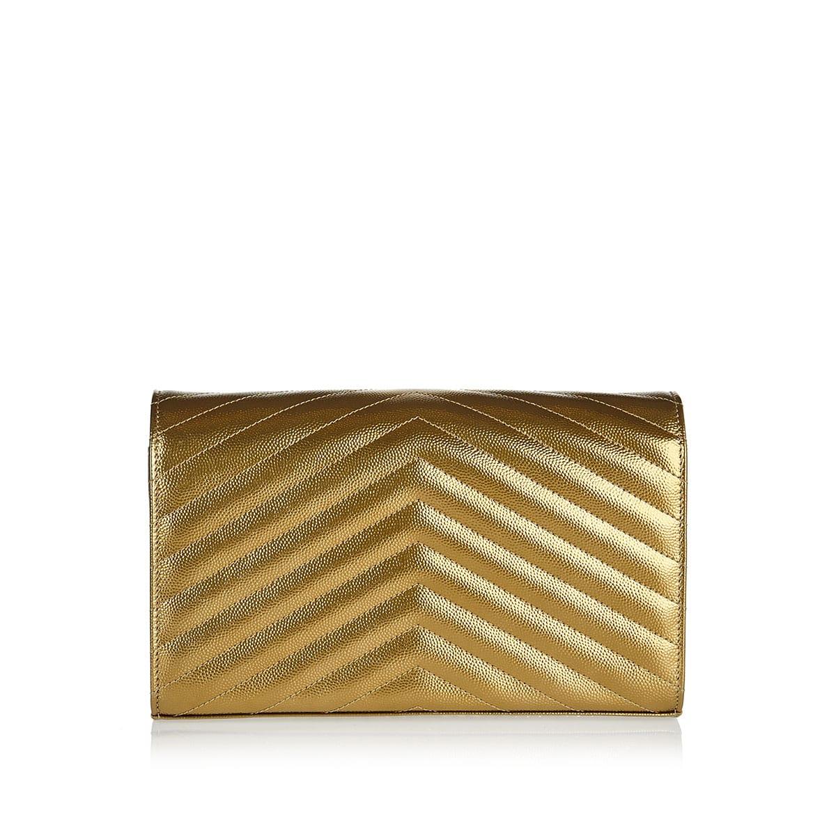 Monogram metallic leather chain wallet