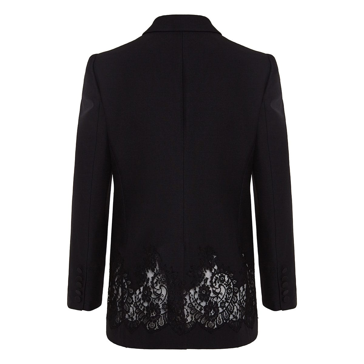 Lace-paneled single-breasted blazer