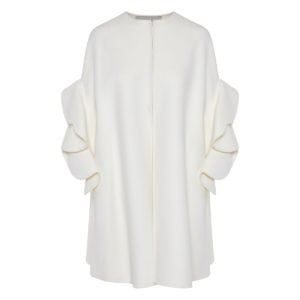 Ruffle-sleeved wool cape