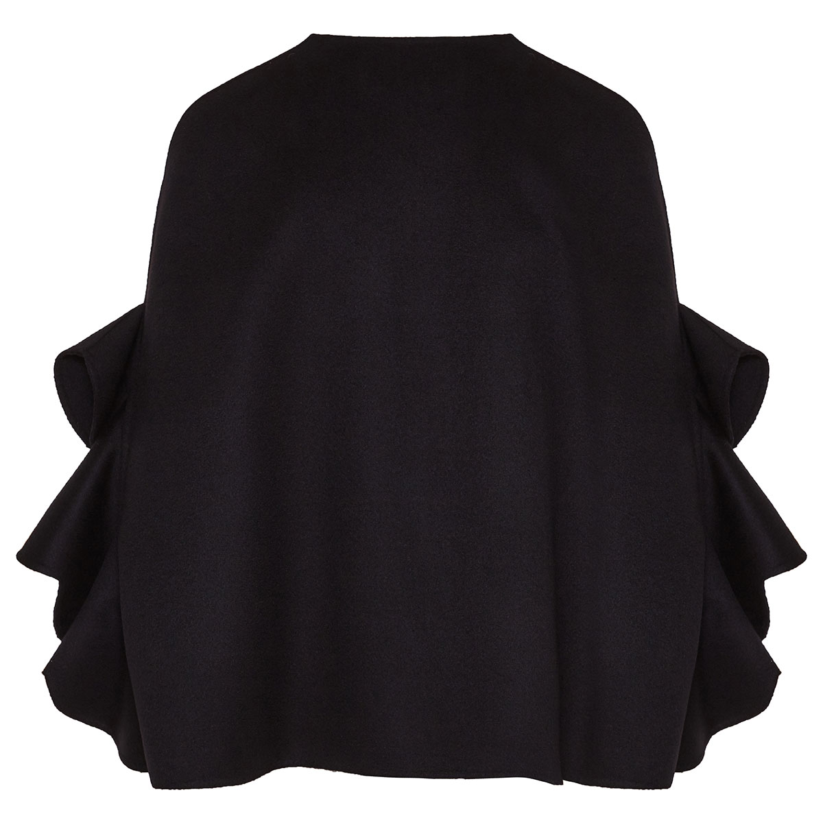Ruffle-sleeved short wool cape
