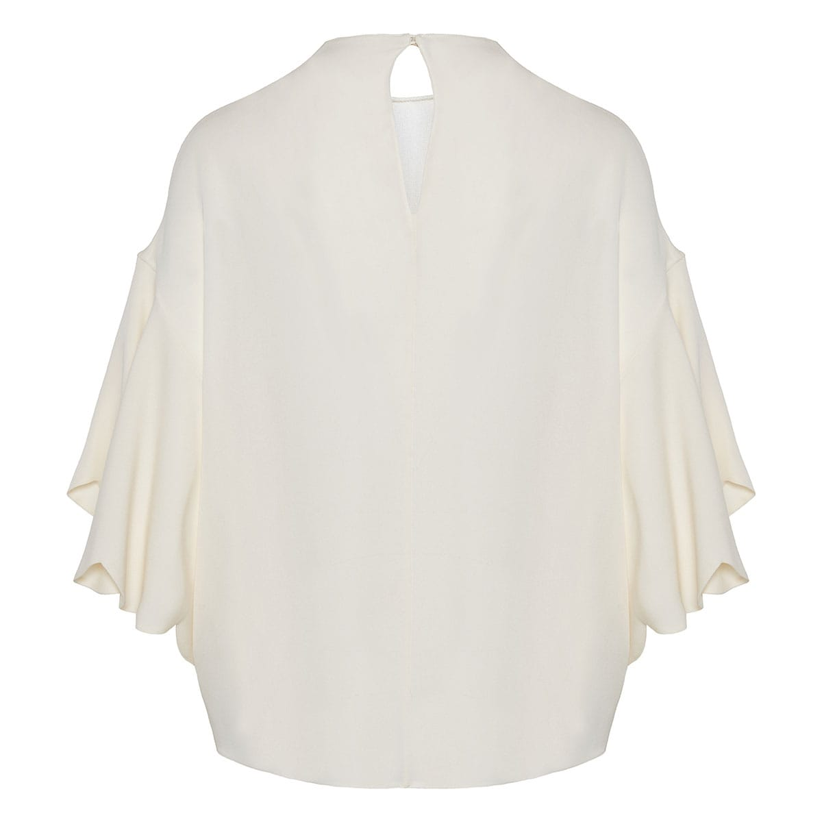 Ruffle-sleeved silk crepe blouse