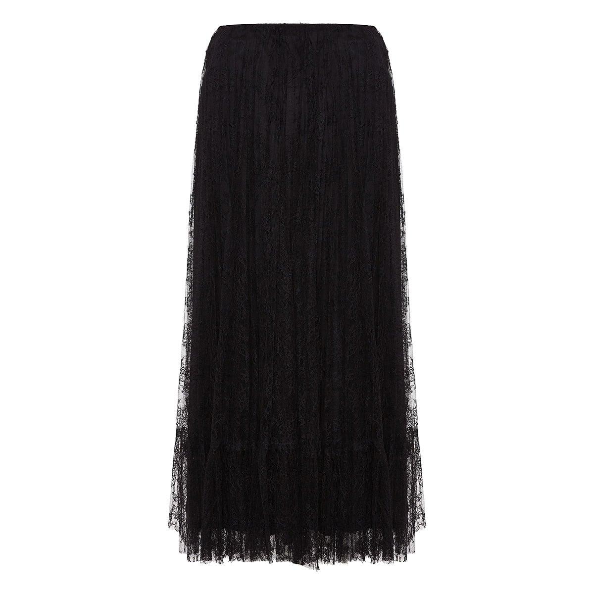 Pleated lace midi skirt