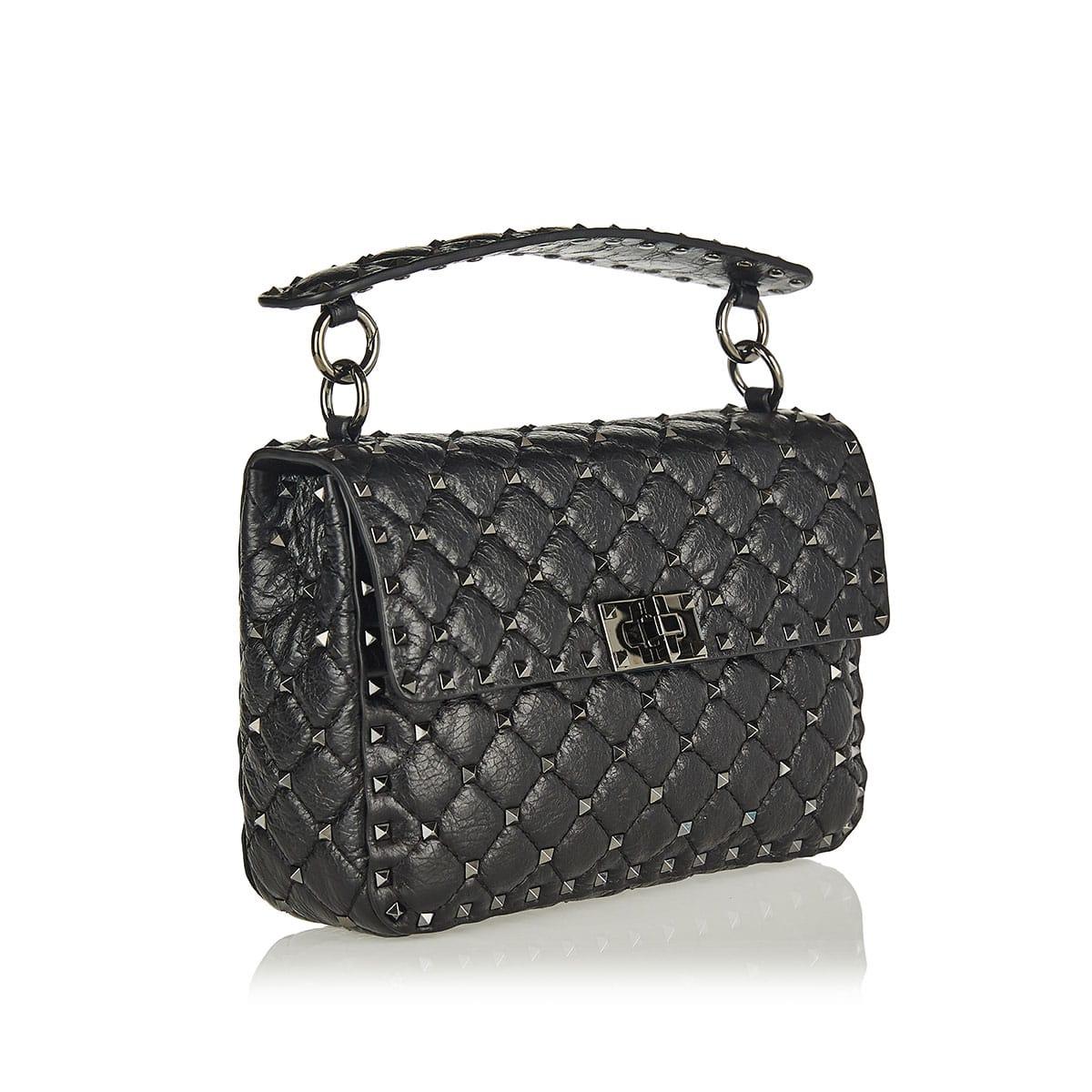 Rockstud Spike crackle-leather chain bag