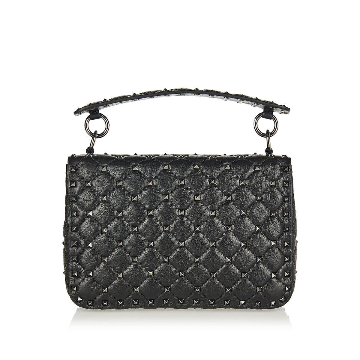Rockstud Spike crackle-leather chain bag